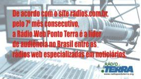 Pelo 7º mês consecutivo, Rádio Web Ponto Terra é líder de audiência