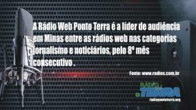 Rádio Web Ponto Terra mantém liderança de audiência em Minas pelo 8º mês consecutivo
